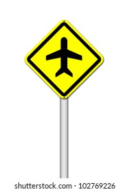 Airport sign on white background