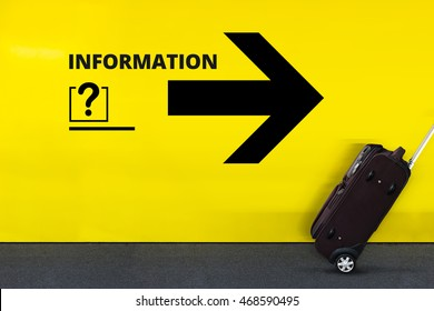 Airport Sign With Question Mark , Information Word, Arrow and moving Luggage