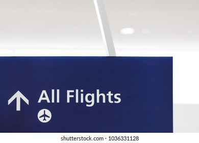 Airport sign with symbol of airplane and arrow showing direction to boarding area gates. Air travel concept.