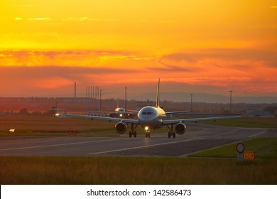 Airport at the sunset - back lit