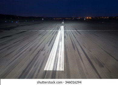 airport tarmac background at night