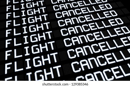 Airport terminal departures board showing cancelled flights because of strike. Business travel unforeseen concept, image rendering.