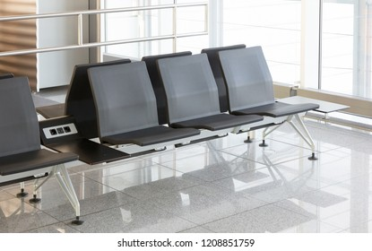 Airport terminal, empty seats - Waiting for departure