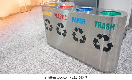 Airport terminal office indoor building stainless trash bin waste recycle to safe airport clean.