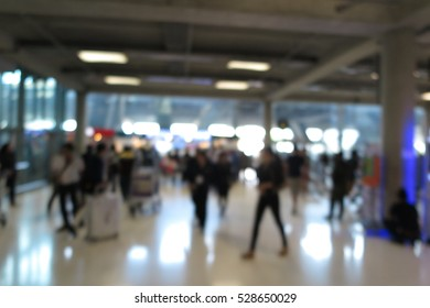 Airport terminal and passenger, abstract blur background