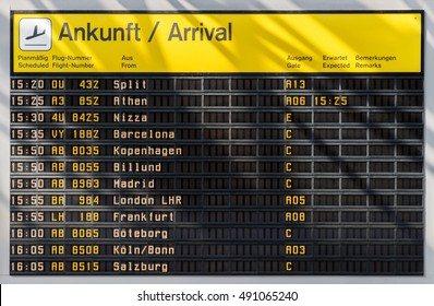 Airport timetable showing arrival times in Berlin. Worldwide arrivals
