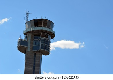 Airport tower.Oslo Gardermoen International Airport. The airport has biggest passenger flow in Norway.July 3,2018. Oslo,Norway