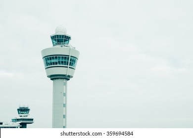 airport traffic control tower with copyspace