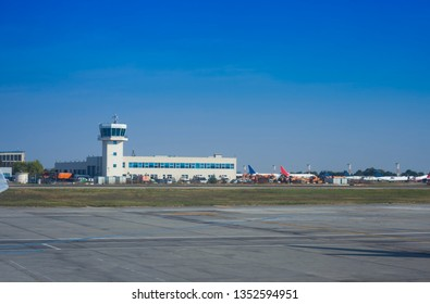 airport watch tower and clear blue sky