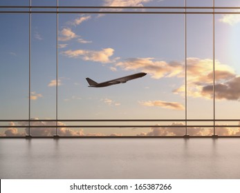 airport with window and airplane