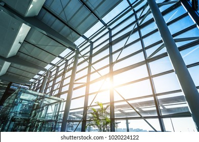 airport window with blue sky