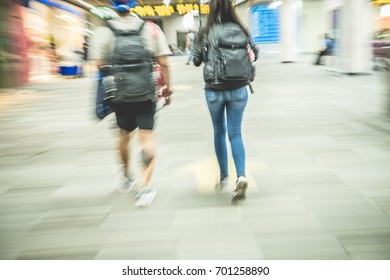 Airports in Asia and travel. Blurred bokeh background.
