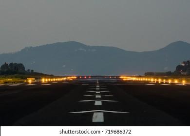 Airport's runway at sunrise