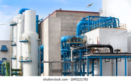 Air-separating factory for producing industrial gases, blue pipes and drone monitoring