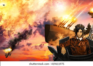 The airships battle, in the style of steampunk anime