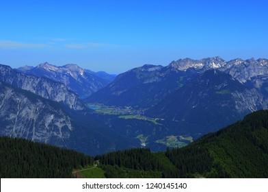 Airshot from Hochfügen in the Zillertal valley in Tirol while paragliding