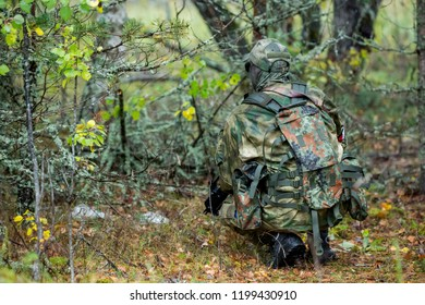 Airsoft gaming in the forest