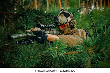 Airsoft man with optical sight gun. Soldier hidden into spruce branches on forest territory