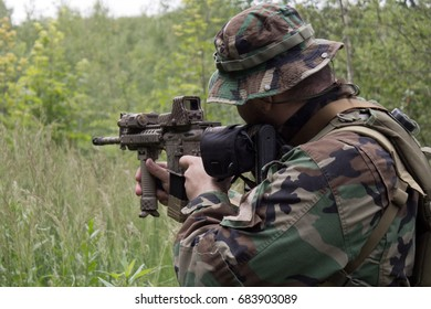 Airsoft player aiming