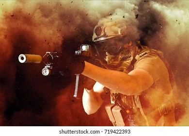 Airsoft player in dusty explosion aiming down sight of rifle, milsim, military simulation