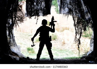 Airsoft Player Shadow With Ax