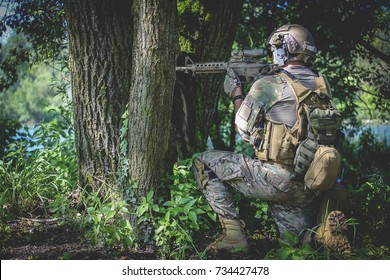 Airsoft soldier in the woods