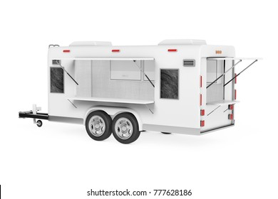 Airstream Caravan Food Truck on a white background. 3d Rendering