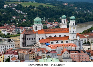 Airview of St. Stephen's Cathedral at Passau in Lower Bavaria, Bavaria, Germany