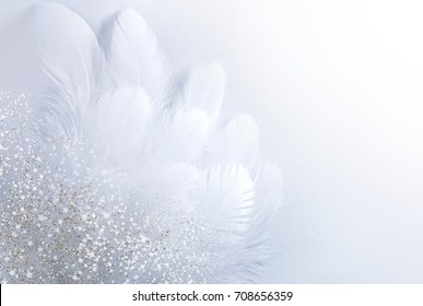 Airy soft Abstract gentle natural background with bird feathers macro with soft focus on light background. Festive background white wing is strewn with sparkling sparkles.