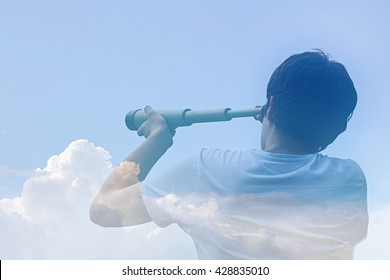 airy-fairy budding business man looking through a telescope in the clouds / in the clouds of hope