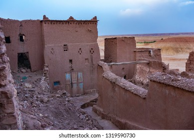 Ait Ben Haddou, ancient city in Marocco, presently abbandoned. Unesco Wold Heritage site. Streets of stone town and blue sky.