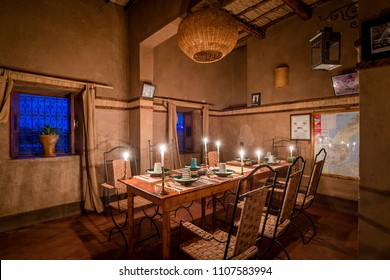 AIT BEN HADDOU,  MOROCCO - OCTOBER 23, 2015: Dining room of Kasbah Tebi at Ait Ben Haddou in Morocco.
