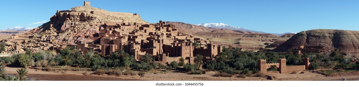 AIT BENHADDOU, MOROCCO - CIRCA MARCH 2918 Ruins of old fortress on the hill