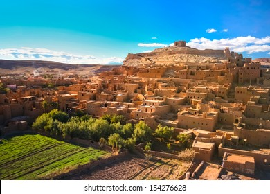 Ait Benhaddou,fortified city, kasbah or ksar, along the former caravan route between Sahara and Marrakech in present day Morocco. It is situated in Souss Massa Draa on a hill along the Ounila River.