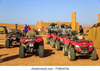 Ait Saoun, Morocco - February 22, 2016: Rally car buggy RZR 800 standing for race rally in Ait Saoun desert in Morocco.