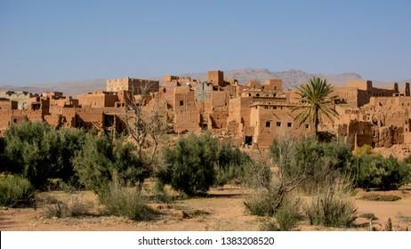 Ait-Ben-Haddou, Ouarzazate, Morocco, 20.02.2019. Ancient ksar in Sahara