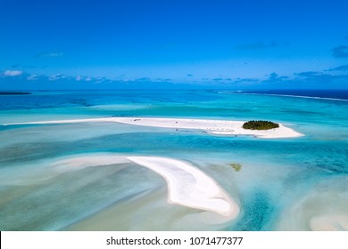 Aitutaki lagoon Polynesia Cook Islands tropical paradise aerial view panorama landscape