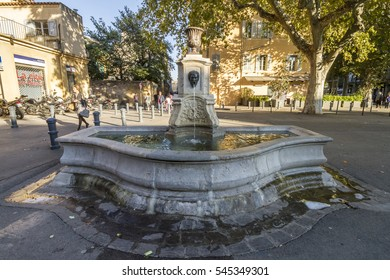 AIX EN PROVENCE, FRANCE - 01 SEPTEMBER 2016:  front view of fountain in the city center