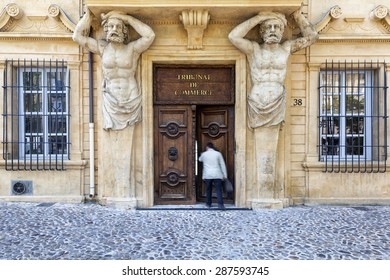 AIX EN PROVENCE, FRANCE - JUNE 1, 2015: Tribunal de Commerce on Cours Mirabeau in Aix-en-Provence on June 1, 2015. Aix-en-Provence, or simply Aix, is a city-commune in south of France