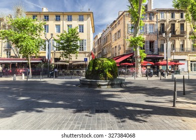 AIX EN PROVENCE, FRANCE - JUNE 1, 2015 : Mossy fountain on the Cours Mirabeau in Aix en Provence