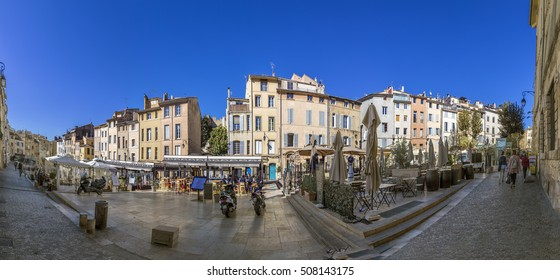 AIX EN PROVENCE, FRANCE - OCT 19, 2016: people visit the place des cadeurs with its famous restaurants  in Aix en Provence, France.