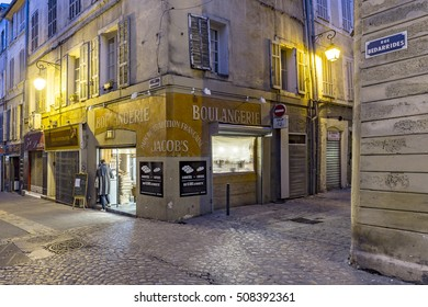 AIX EN PROVENCE, FRANCE - OCT 20, 2016: people buy fresh croissants in the bakery for breakfast in early morning to have a real french breakfast.