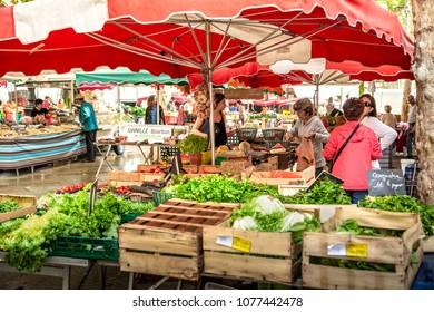 Aix En Provence, France - September 25, 2013: Central marketplace in Aix En Provence