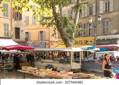 Aix En Provence, France - September 25, 2013: Central marketplace in Aix En Provence