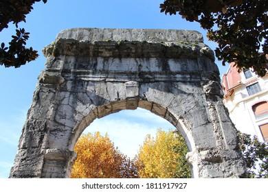 Aix Les Bains, France - 11 11 2018 : The Roman arch of Campanus in Aix Les Bains, city of Aix Les Bains, department of Savoie, France