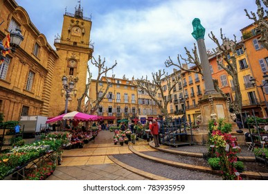 Aix-en-Provence, France - April 21, 2016: traditional flower market in the historical Old Town of Aix en Provence, France