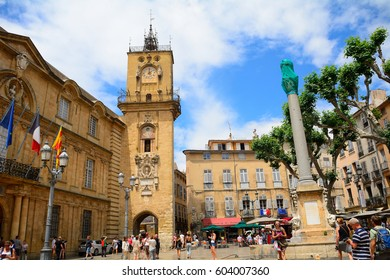 AIX-EN-PROVENCE, FRANCE - JUNE 21 : The City Hall on 21 June 2016 at Aix-en-Provence, France. The City Hall of Aix-en-Provence is in an old, medieval building.