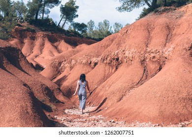 Aix-en-Provence, France - May 17, 2018: A view on the red sands in Provence