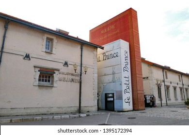 Aix-en-Provence / France - November 11 2017: Bibliotheque Mejanes, a library with a façade of 3 giant books