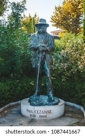 AIX-EN-PROVENCE, FRANCE - OCTOBER 9, 2009: Paul Cezanne monument by sculptor Gabriel Sterk donated to the city in 2006